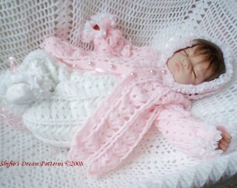 CROCHET PATTERN For Sleepy Hooded Baby Jacket & Pants PDF 83 Digital Download