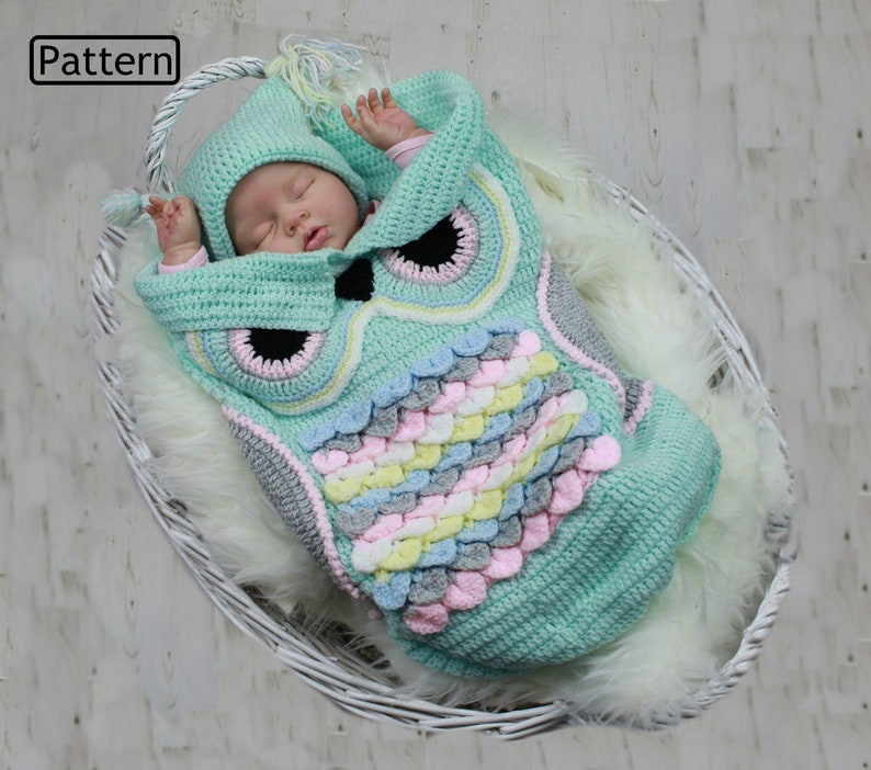 Crochet Pattern  Owl Baby Cocoon  Papoose  Hat  3 Sizes  image 0