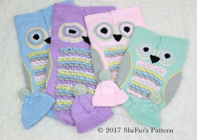 3b5066b42bb0 Knitting Pattern For Owl Baby Cocoon Papoose and Hat in 4