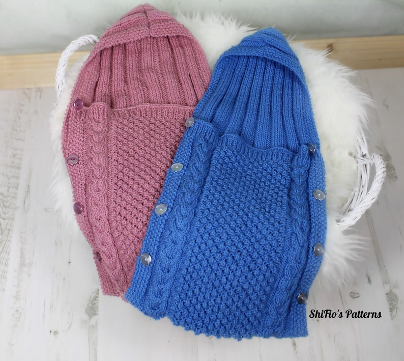 Knitting Pattern Baby Sleeping Bag Bunting With Hood   Etsy