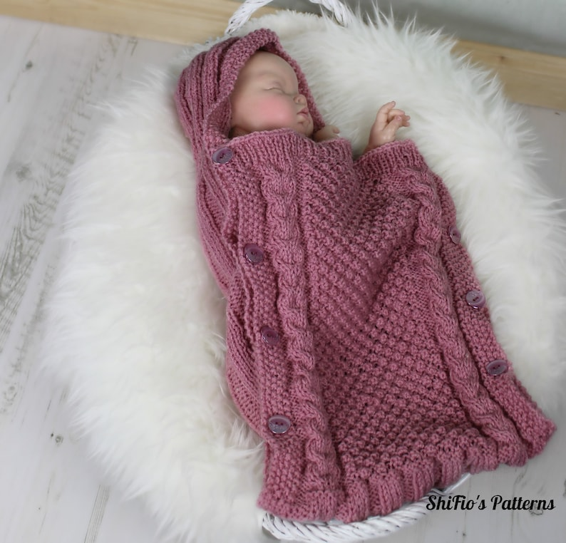 Knitting Pattern Baby Sleeping Bag Bunting With Hood | Etsy