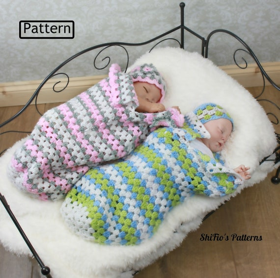 Crochet Pattern Granny Stitch Baby Cocoon Sleep Sack Papoose Crochet Baby Hat Pattern 3 Sizes Usa Uk Terms Cp329 Pdf