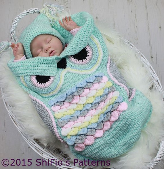Crochet Pattern For Owl Baby Cocoon Papoose Hat In 3 Sizes