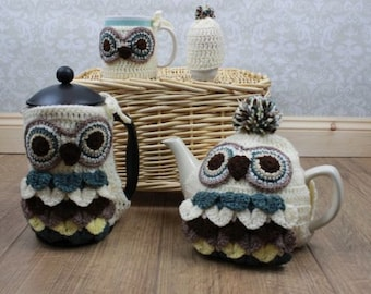 CROCHET PATTERN For Owl Cafetiere/ French Coffee Press Cover, Teapot, Mug, Egg Cozy PDF 249 Digital Download