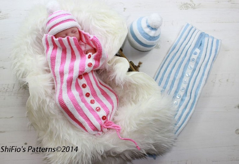 5ab67bd8fc2e KNITTING PATTERN For Pleated Baby Papoose Cocoon   Hat