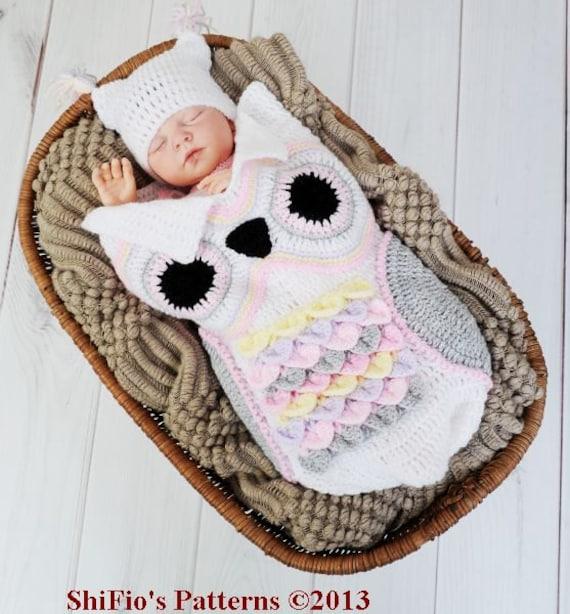 Patrón ganchillo para capullo búho & sombrero del bebé U.K | Etsy