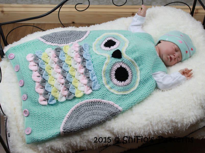 Crochet Pattern For Owl Baby Sleeping Bag Sack In 3 Sizes Etsy