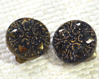 Vintage Clip On Earrings -Gilded French Jet Textured Button Shapes  Black and Gold with Tiny Hearts in The Pattern  - Gift Boxed