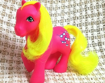 Vintage My Little Pony Shady UK NSS Neon Pink Body Vivid Yellow Hair Rare G1 1985 Sunglasses Cutie European Not So Soft Variation Summer EU