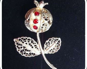 Silver Filigree Rose-hip  Brooch - Unusual rounded 3D design Ornate Silver Wire set with Red Diamanté Rhinestones Vintage 1950s Gift Boxed