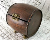 Oak Barrel Shaped Box Circa 1920s-30s - Trinkets, Nic Nacs, Cards, Treasures, Desk Top Beer or Wine Keg Style Container - Brass Fittings