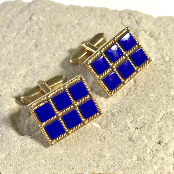 Vintage 70s GT Minimalist Hexagon Swivel Cuff Links; Travel Jewelry