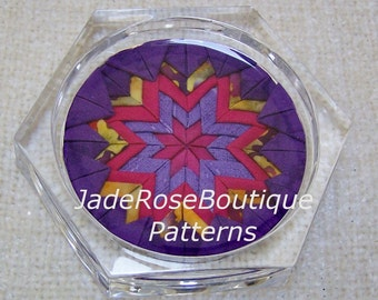 Folded Star Coaster Pattern, Coaster Pattern, DIY Home Decor, Mandala Pattern, Colorful Coaster Pattern, Fabric Coaster Pattern PDF105