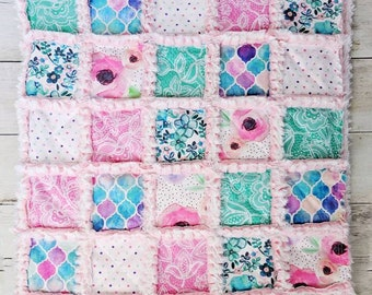 Pastel Rainbow Elephant Floral Baby Quilt