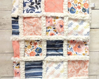 Coral and Navy Blue Watercolor Floral Patchwork Quilt