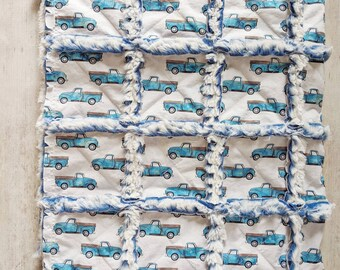 Vintage Trucks Quilt in Bright Blue