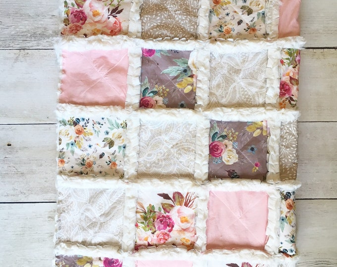Featured listing image: Boho Dusty Rose Floral Baby Quilt - Crib Quilt for Baby Girl - Minky Rag Quilt