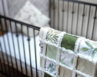 Ready to Ship Greenery Gender Neutral Baby Quilt