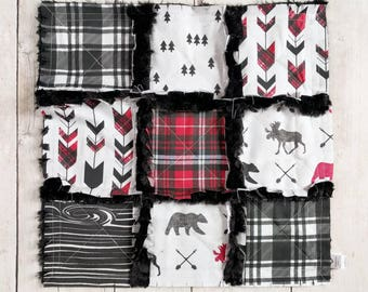 Black and Red Plaid Minky Lovey