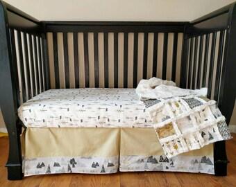 Tan Adventure Awaits Crib Set