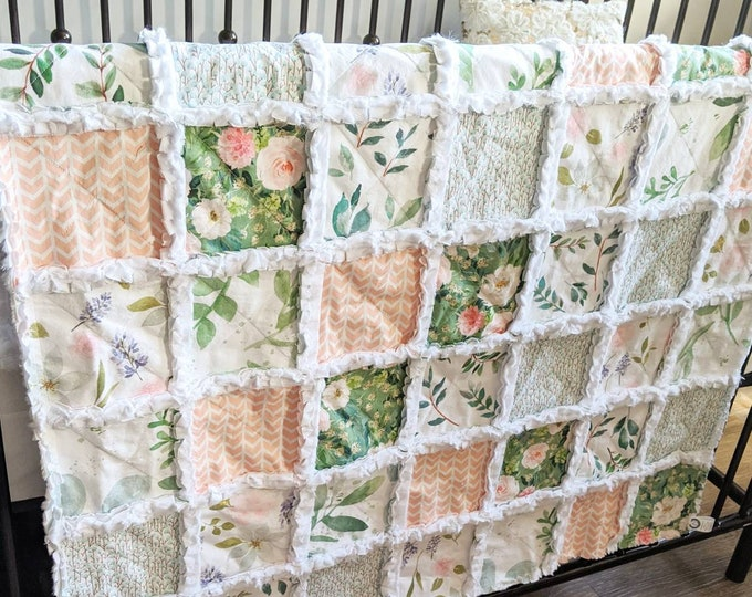 Featured listing image: Greenery and Floral Baby Quilt - Crib Quilt for Baby Girl - Minky Rag Quilt