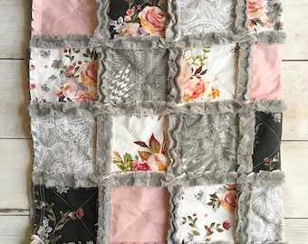 Elegant Pink and Black Rose Baby Quilt