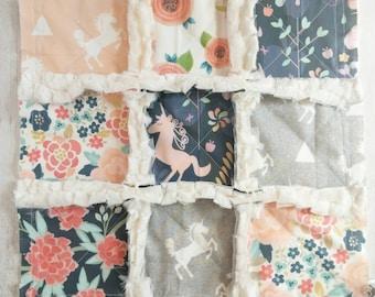 Unicorn Minky Rag Quilt Lovey