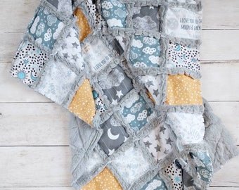 Moon Cloud and Stars Minky Rag Quilt
