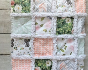 Green Floral Elephant Baby Quilt