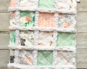 Mint and Pink Elephant Floral Baby Quilt