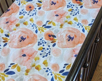 Watercolor Floral Blue and Coral Fitted Crib Sheet