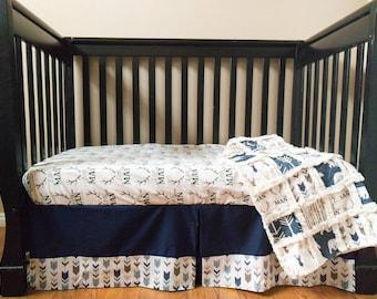 Navy Little Man Crib Set