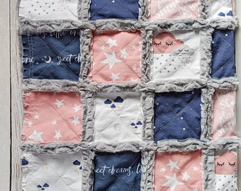 Stars, Moon, and Clouds Nursery Quilt for Girls in Grey, Dusty Rose and Navy Blue