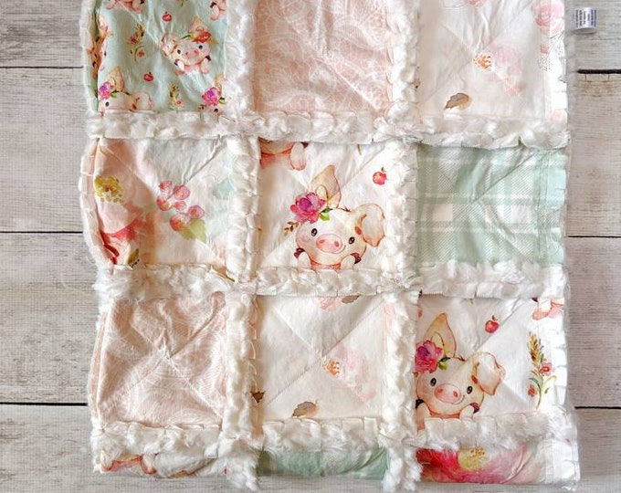 Featured listing image: Piglet Quilt with Plaid and Lace - Floral Pig Quilt for Baby Girl Crib - Nursery Decor