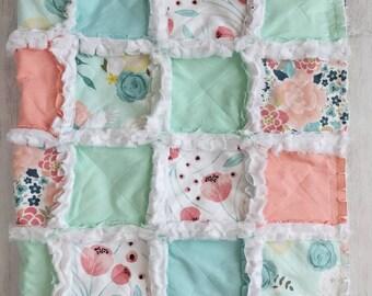 Pastel Floral Rag Quilt