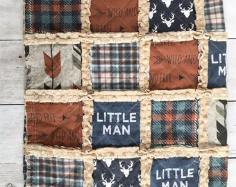 Little Man Rag Quilt in Rust and Denim Blue