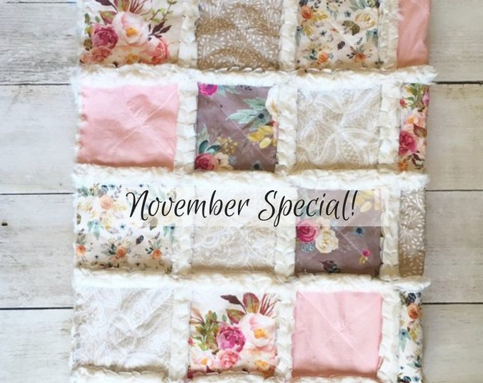 Featured listing image: Dusty Rose Floral Baby Quilt