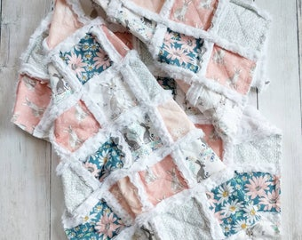 Ready to Ship Bunny Baby Blanket - Minky Rag Quilt