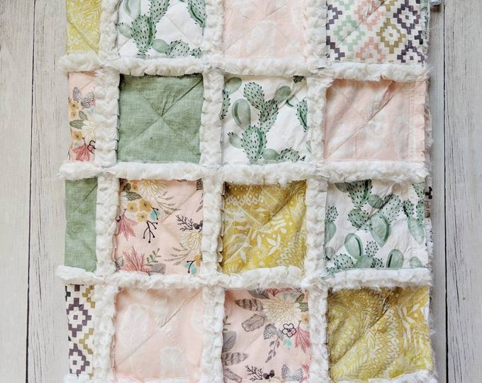 Featured listing image: Southwest Cactus Floral Baby Quilt - Cactus Crib Quilt for Girl Nursery
