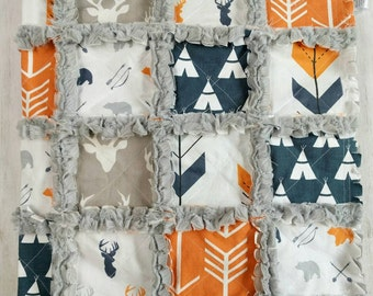Orange and Navy Woodland Quilt