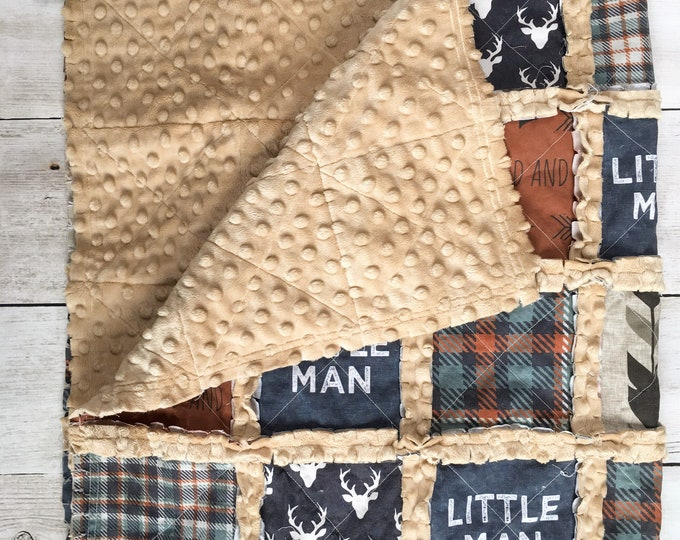 Featured listing image: Plaid Little Man Quilt for Baby Boy - Rustic Nursery Decor  - Crib Quilt Denim Blue and Burnt Orange