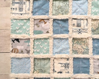 Vintage Aviation Minky Rag Quilt with Mint and Light Blue Air Planes and Maps