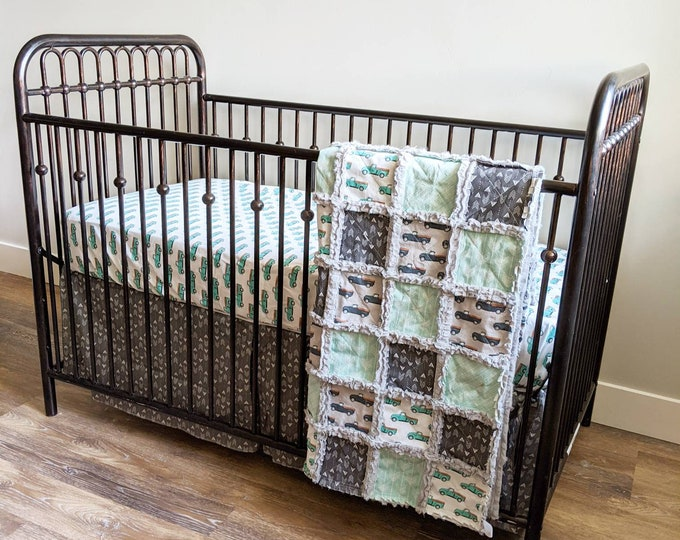 Featured listing image: Vintage Truck Mint Green and Grey Crib Bedding