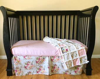 Dusty Rose Floral Crib Bedding for Baby Girl