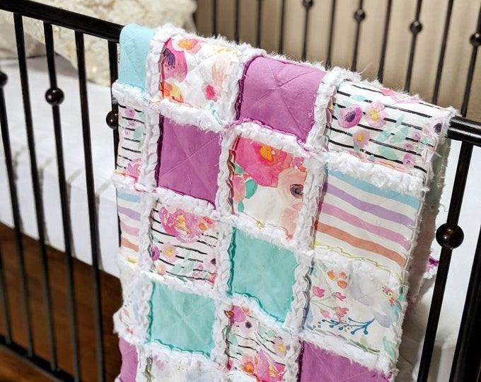 Featured listing image: Bright Neon Floral Baby Quilt - Crib Quilt for Baby Girl - Minky Rag Quilt