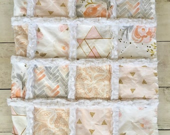 Minky Rag Quilt in Blush Pink, Gold, and Gray