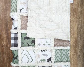 Green Safari Animals Minky Quilt - Gender Neutral Baby Gift - Baby Boy Quilt - Zoo Animals Blanket - Safari Theme Quilt - Minky Rag Quilt