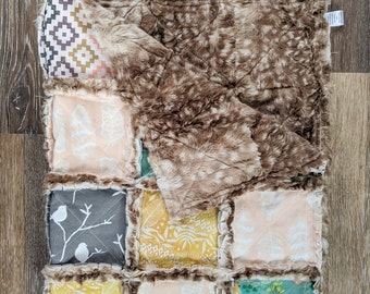 Southwest Boho Baby Quilt with Fawn Minky - Birds and Flowers Crib Quilt for Girl Nursery