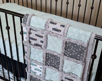 Vintage Trucks Crib Bedding in Mint, Navy, and Grey - Quilt, Crib Skirt, Fitted Sheet
