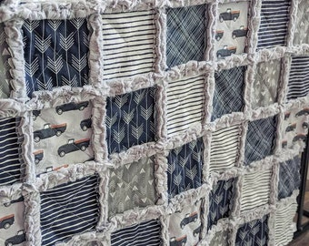 Navy Blue Baby Boy Quilt - Vintage Truck Baby Quilt - Crib Quilt in Navy Blue and Grey